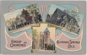 Colorado Co Postcard 1914 COLORADO SPRINGS 3View Fancy Border CHURCHES