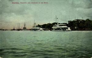 china, CANTON GUANGZHOU 廣州, Shameen and Gunboats on the River (1910s) Postcard
