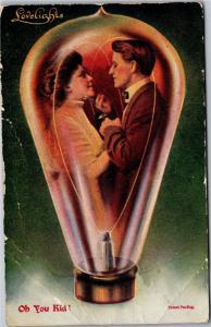 Lovelights, Romantic Couple in Light Bulb, Oh You Kid c1912 Postcard K13