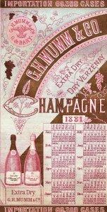1881 Calendar G.H. Mumm & Co. Case Totals Champagne Trade Card P6