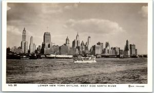 1940s NYC RPPC Real Photo Postcard Lower New York Skyline West Side North River