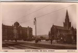 P1894 old RPPC street scene people glasco cathedral & royal infirmary scotland