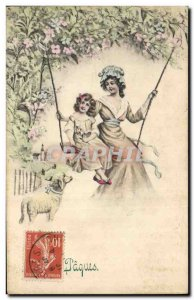 Old Postcard Fantaisie Child Easter