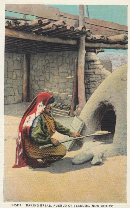 Indian Woman Baking Bread , Pueblo of TESUQUE , New Mexico , 1910s ; Fred Har...