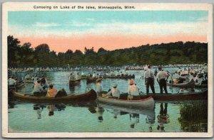c1930s Minneapolis, Minnesota Postcard Canoeing on the Lake of Isles Unused