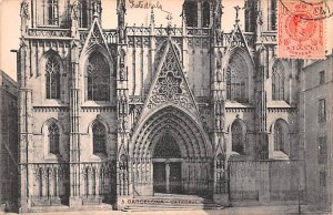 Catedral Barcelona Spain 1913 Postal on front