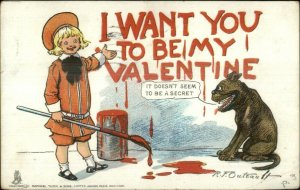 Valentine - Buster Brown Painting Graffiti TUCK Outcault Postcard c1905