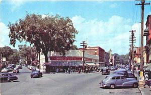 Laconia NH Main Street Woolworth's Storefronts Old Cars Postcard