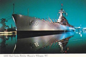 U S S North Carolina Battleship Memorial At Night Wilmington North Carolina