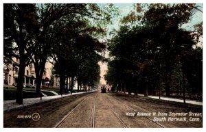 Connecticut South Norwalk , West Avenue N. from Seymour Street , Trolley
