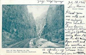 1906 Royal Gorge Denver Rio Grande Railroad Balloon Route postcard 8921