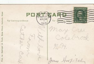 P1907, 1914 postcard scene at bass point nahant mass people water etc
