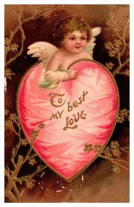 11189  Valantine  cupid in Red Heart , to my best love