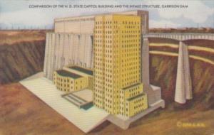 North Dakota Fargo State Capitol Building & Garrison Dam Comparison