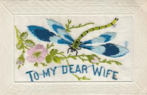 Hand Sewn, 1900-10s; To My Dear Wife, Dragonfly, Pink flowers