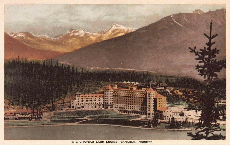 Chateau Lake Louise, Canadian Rockies, Canada, Hand Colored Postcard, Unused