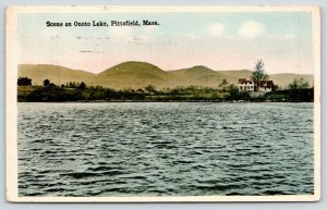 Pittsfield Massachusetts~Onoto Lake~Home on Shoreline~1914 Postcard