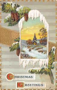 Christmas~Pine Cones Drape Over Snowy Arch Portal to Country Church~Gold Emboss