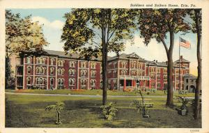 Erie Pennsylvania~Civil War Soldiers & Sailors Home~Benches Under Trees~1940s PC