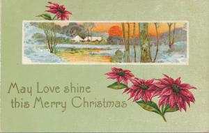Merry Christmas Greetings - May Love Shine - Poinsettia and Rural Scene - DB