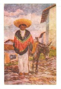 Artist Signed, Mexican Indian Transporter with Donkey, PU