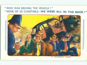 Bamforth Comic POLICE INVESTIGATE DRUNK DRIVING ACCIDENT AC0025