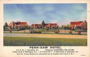 Penn Daw Hotel Motel Alexandria Virginia linen postcard