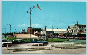 Postcard DE Rehoboth Beach c1960s Street View Rehoboth Avenue West Old Cars M04