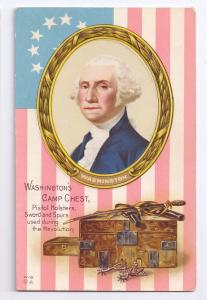 George Washington Camp Chest Vintage Nash Patriotic Postcard