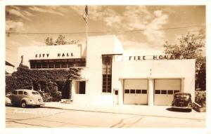 Auburn CA Art Deco City Hall and Fire Station~1940s Automobiles~Postcard~RPPC