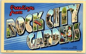ROCK CITY GARDENS Chattanooga TN Large Letter Postcard Curteich Linen 8A-H1507