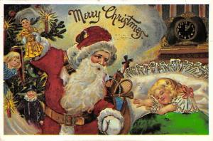 Santa Claus Post Card Old Antique Vintage Christmas Postcard Reproduction 1986
