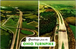 1950s POSTCARD GREETINGS FROM OHIO TURNPIKE, VIEWS AERIAL TOLL BOOTHS UNPOSTED