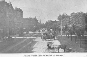 Indiana In Postcard c1910 MARION Adams Street Looking South Stores Wagons Horses