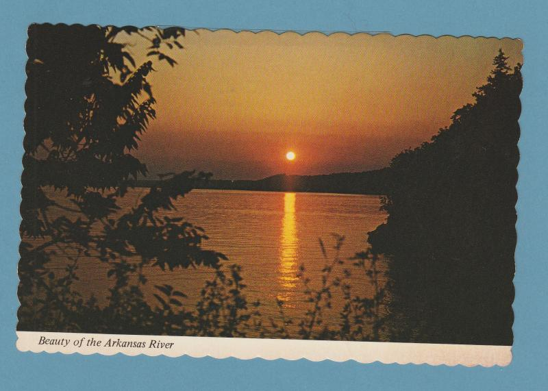 Arkansas River Sunset Dardanelle Lake Postcard Unused Chrome
