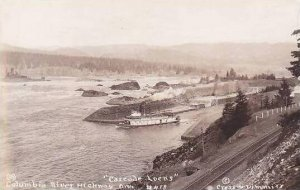 Oregon Columbia River Highway Cascade Locks Real Photo RPPC