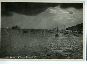 128876 Germany HAMBURG Mood on Elbe River ships Vintage PC