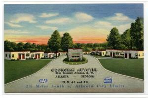 Georgian Autotel Motel Atlanta Georgia Curt Teich Sample linen postcard