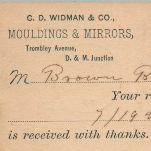 1892 C. D. Widman Co Mouldings Mirrors Detroit Brown Bros Charlotte Postcard