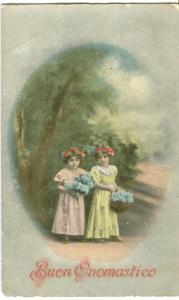 Buon Onomastico – Good Nameday, Italian early 1900s unused