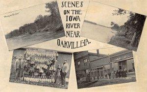 Scenes on Iowa River Oakville IA 1910c postcard
