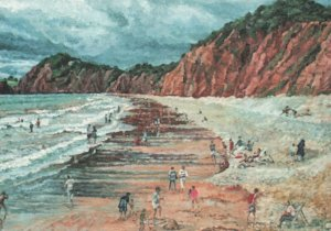 Vintage Postcard Bathing as the Storm Clouds Gather by Ron Webb of Sidmouth Art