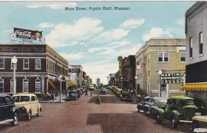 Missouri Poplar Bluff Main Street Martin Drug Store Coca Cola Sign Curteich