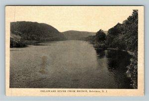 Belvidere NJ-New Jersey, Delaware River From Bridge, Vintage Postcard