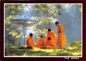 Thailand Thai Monks Travelling Monk talking in the morning, North Thailand