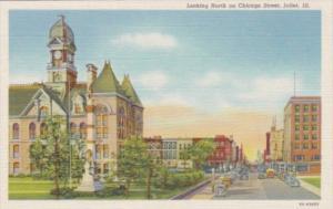Illinois Joliet Looking North On Chicago Street Curteich