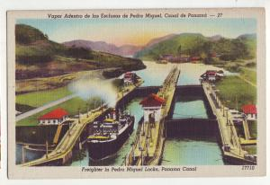 P954 vintage card ship freighter pedro miguel locks panama canal