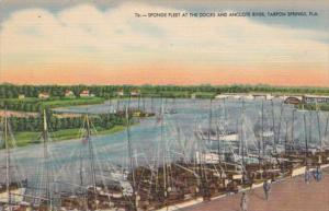 Florida Tarpon Springs Sponge Fleet At The Docks and Anclote River