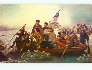 Washington Crossing the Delaware Painting Emanuel Leutze Swedis  Postcard # 6012
