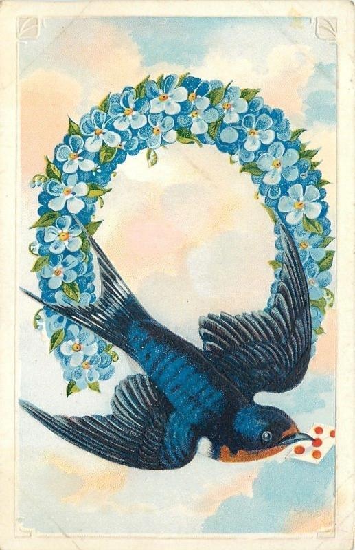Barnswallow Bird Swoops Thru Blue Forget-Me-Nots Horseshoe~Clouds~Emboss~Germany